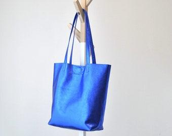 EMMA BAG Borsa in pelle blu, borsa blu metallizzato, borsa pelle, shopper blu, borsa vera pelle, shopper metallizzata, borsa metallizzata