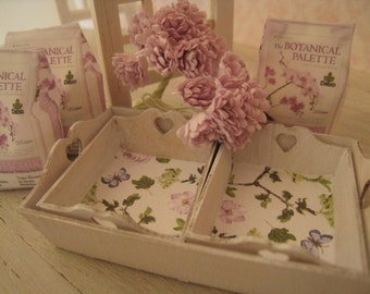 DOLLHOUSE FLORAL TRAYS