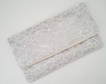 Silver Foldover Clutch - Silver Purse - Ivory Wedding Clutch - Ivory Foldover Clutch - Silver Bridesmaid Clutch - Silver Bridal Clutch