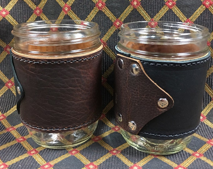 Leather covered 16oz mason jar pint glass or coffee cup
