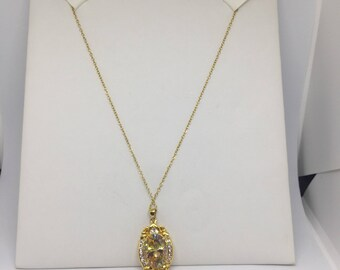 Gold Filled Fancey Multi-colored CZ pendent and chain