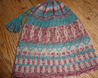 Fair Isle hat, hand knitted,  wool, shades of autumn