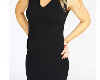 Mini black dress casual dress Bodycon Pencil dress Office knee length dress sleeveless with v neck