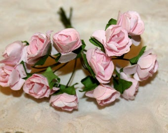 Light Pink Paper Flowers 12 Count Bundle