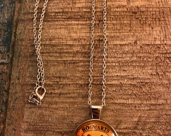 Silver plated Hogwarts necklace