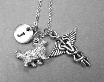 Dog necklace, Collie dog necklace, Veterinary necklace, Dog jewelry, Veterinarian necklace, pet necklace, initial necklace, dog lover gift