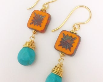 Orange glass and turqoise blue atone dangle earrings with gold fill findings