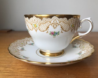 Happy Anniversary Teacup and Saucer, Tuscan China Extra Large Tea Cup and Saucer, Gold Lace and Floral Bone China