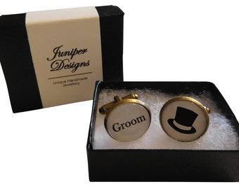 Handcrafted Groom Cuff links - Excellent Groomsman gift, wedding cufflinks, groom cufflinks, groom gift - Free UK Shipping