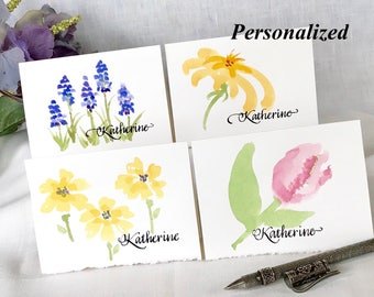 Hand Painted Floral Stationery - Watercolor Painted Flower Cards - Original Watercolor - Hyacinth, Zinnia, Primrose, Tulip - 4 Notecards