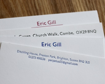 Personalised stationery set - letterpress printed correspondence cards, writing paper, name and address, stylish font, Gill Sans