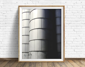 """photography, large art, large wall art, printable art, instant download, digital download art, wall art, industrial decor - """"Three Silos"""""""