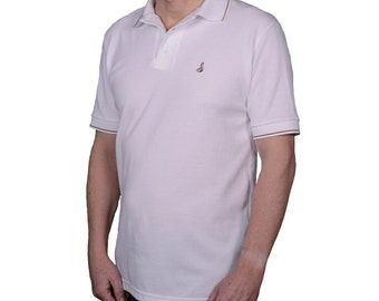 Men's white polo shirt with brown/beige stripe trim and Josery logo 23T/07.  Made in England. J513  Gift for father, husband, boyfriend son
