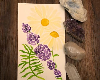 Essential Oil Botanical Watercolor and Crystal Set