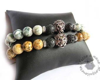 Men's bracelet, lion's head bracelet, bead bracelet, lava stone, elastic bracelet, lion head, stone bracelet, gift him, lava