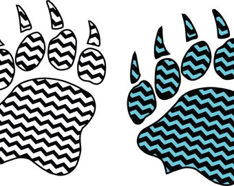 Chevron Bear Paw Digital  Download