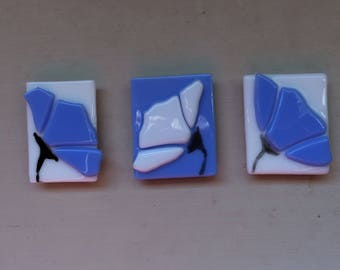 Blue Stained Glass Flower Kitchen Magnets Set of Three