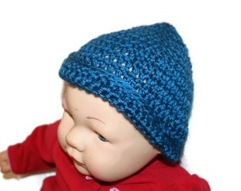 Baby boy hat, Blue Crochet Cap, Newborn Baby Hat, Infant beanie, Newborn Beanie, Blue Knit Hat, Blue Baby Hat, Baby Skull Cap,