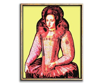 Pop Art Portait Painting of a Woman Downloadable Print, Boho Modern Art Portrait Pop Art Poster Printable Digital Download Quirky Wall Art