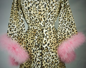 Leopard print Pink Marabou Feather Robe