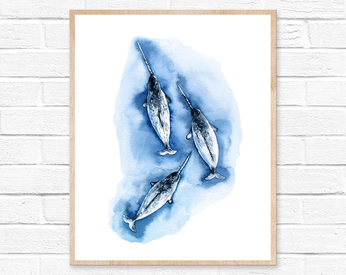 Whale Print Whale Illustration Narwhal Print Whale Watercolor Print Nautical Print Childrens Print Childrens Decor Nursery wall Art Narwhal