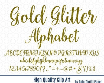 Gold Glitter alphabet digital clip art, golden font clipart commercial use, printable birthday party decorations shine numbers, letters PNG