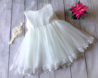 Lace Dress, Tulle Dress, Ivory Dress, White Dress, Flower Girl Dress, Birthday Dress, Party Dress, Wedding Dress, Baptism Dress