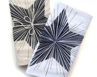 Gold Star Kitchen tea towel, flour sack towel, white cotton screenprint, metallic ink rays, burst, modern design, hand towel