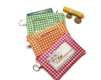 Houndstooth ID card zippered wallet keychain. Choose your colors: Green, Orange or Pink.