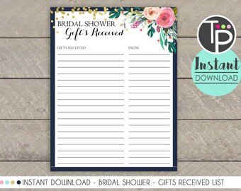 gift received list watercolor flowers gift received list floral bridal shower list of received gifts bridal shower gift list gift list