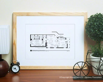 I Love Lucy Apartment Floor Plan - TV Show Floor Plan - Black and White Poster Art for 1st NYC Residence of Lucy and Ricky Ricardo