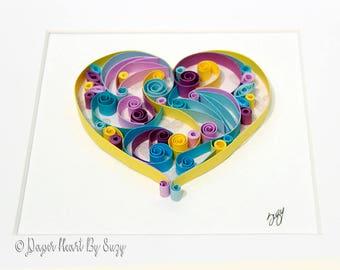 "Quilled Paper Art: "" Yellow Heart """