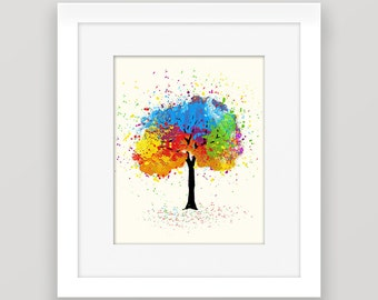 Colorful Tree Print, Printable Art, Watercolor Tree, Green, Yellow, Blue Nursery Printable Wall Decor, 8x10 Print, Instant Download Art