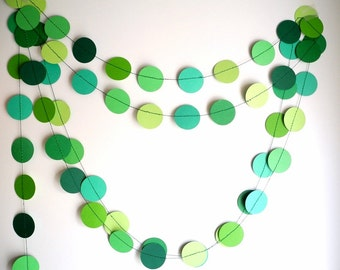 Green circles paper garland, green shades party decor, home decor, birthday party garland