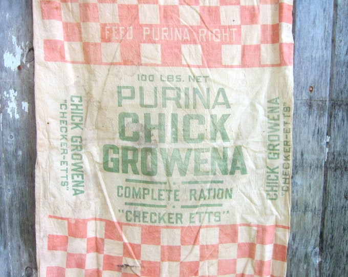 Purina Chick Growena Feedsack Fabric vintage Checker Etts Red and White Farmhouse Feed Sack