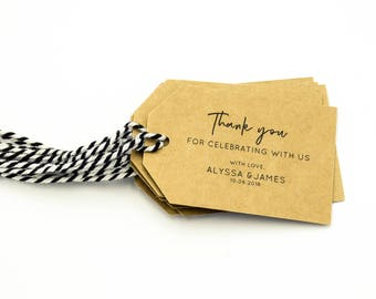 Wedding Tags Custom Wedding Thank You Tags Personalised Wedding Favours Gift Labels Kraft