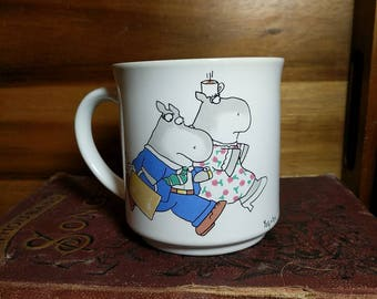 """Vintage Sandra Boynton Mug featuring Hippos """"Fact: There are three times as many Mondays as there are Fridays."""""""