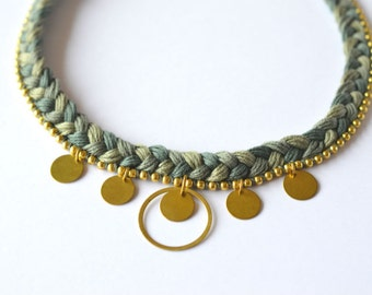 Braided cotton necklace with gold brass disks and ball chain