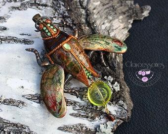 Bug necklace Beetle necklace  Bug pin Bug brooch Scarab necklace Beetle brooch Scarab pin Insect necklace Art Nouveau Polymer clay necklace