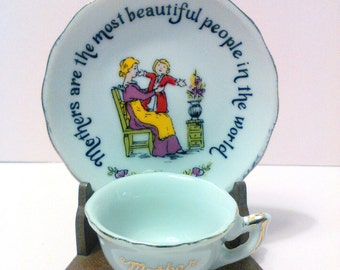 Mothers day gift mother gift new mom gift for mom plate and cup Shabby chic vintage mother plate