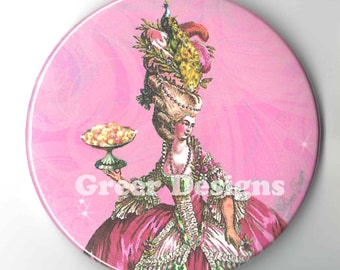 Purse Mirror Marie Antoinette Peacock n Cakes Pink 2 sizes available