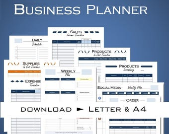 Printable small business binder, order form, inventory, tracker supplies, sales expenses, financial business, planner PDF Letter size and A4