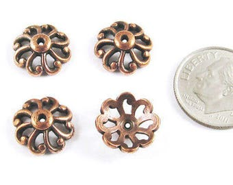 TierraCast Pewter Bead Caps-Copper Open Scalloped 12mm (4)