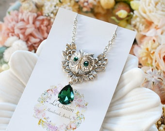 Owl Necklace, May Birthstone Necklace, Owl Jewelry, Silver Plated Brass Owl, Emerald Green Necklace, Birthstone Jewelry, Gift for daughter