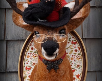 RESERVED/LAYAWAY Second Payment Needle Felted One of a kind Wool Faux Steampunk Taxidermy Stag Deer Elk Soft Sculpture by Bella McBride