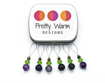 Purple Stitch Marker - Knitting Supplies - Snag Free Stitch Marker - Knit Stitch Markers - Beaded Stitch Markers - Gift for Knitters