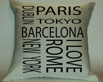 Travel 18X18 Decorative Pillow Cover