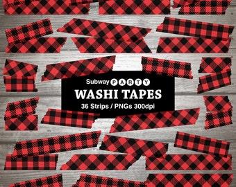 Lumberjack Digital Washi Tapes. Red Black Buffalo Check Plaid Gingham. Semitransparent Strips. Scrapbook Clipart. 36 PNGs. INSTANT DOWNLOAD