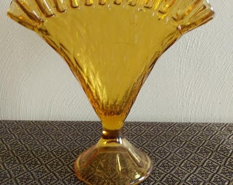 Gold/Amber Glass Fan Vase