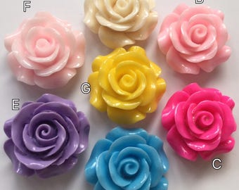 3 pcs 30 mm mixed Cabochon Flowers,mixed 30 mm Rose,resin flower,big rose,mixed rose cabochon,30 mm resin flower,mixed rose flower